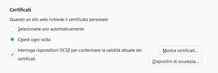 Certificati su Firefox ESR
